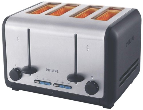 Philips HD2647/20 1800-Watt 4 Slice Toaster (Metal/Black)
