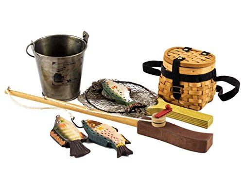 The Queen's Treasures Doll Fishing Adventure Set (Fishing Pole, Net, Pail and 3 Fish) For 18 Inch Girl Dolls. Great for Exploring and Outdoor Fun. 18 Inch Doll Clothing and Accessories.