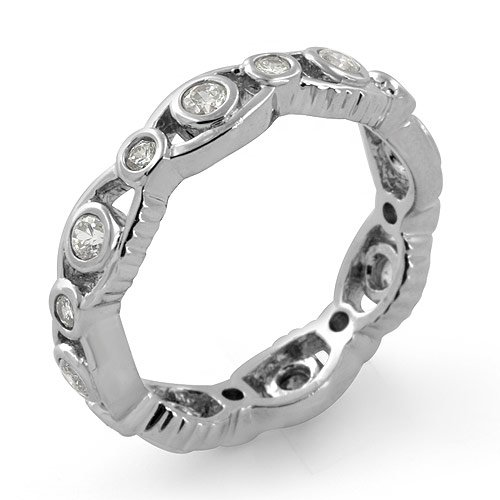 Round Cz Eternity Wedding Anniversary Band Ring Sterling Silver 925 Cubic Zirconia Sz6