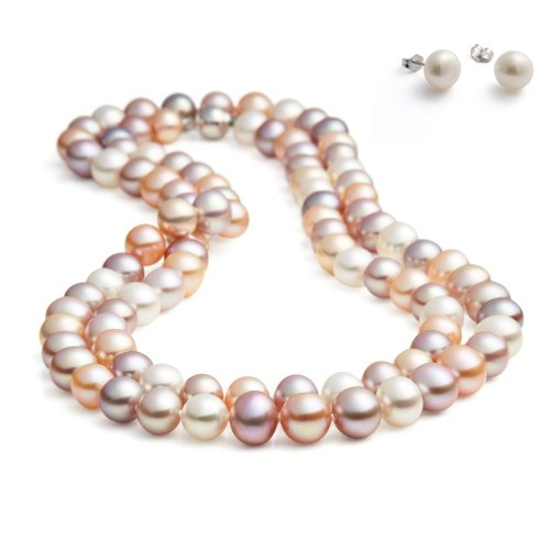 Rolicia(Ellena Pearl) Round 8-9mm 50Inches 125cm Freshwater Cultured Multi-Color Pearl Necklace for Women & Matching Stud Earring Set
