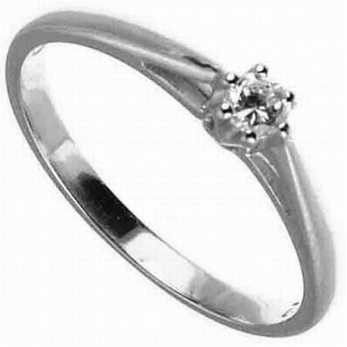 9ct White Gold Diamond Engagement Ring With Round Brilliant Diamond Solitaire, 0.10 Carat Diamond Weight