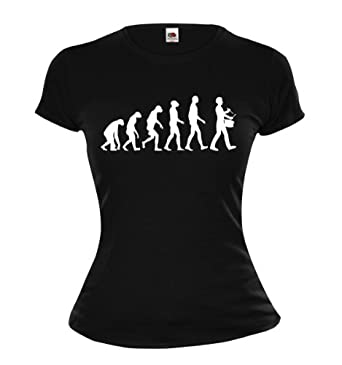 Girlie T-Shirt The Evolution of drum-XS-Black-White