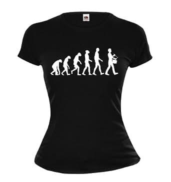 Girlie T-Shirt The Evolution of drum-XS-Black-White