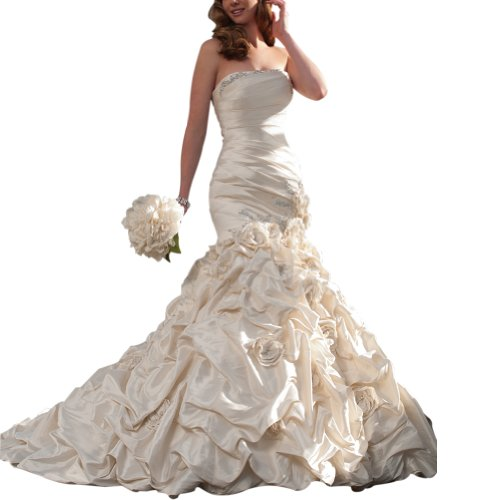 GEORGE BRIDE Strapless Mermaid Taffeta Chapel Train Wedding Dress