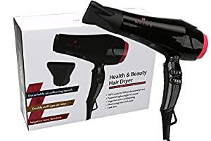Wazor Hair Dryer 1875W Professional Blow Dryer Negative Ionic Ceramic Dryer With Cool Shut Button Black