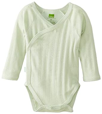Kushies Unisexbaby Newborn Everyday Mocha Layette Wrap Long Sleeve Bodysuit, Sage, Preemie