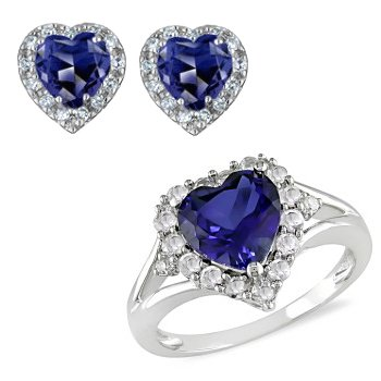 0.60ct Sapphire Vs Diamond Heart Shape 14k Gold Ring