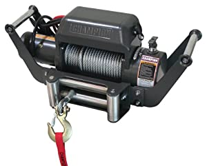 Champion Power Equipment 10,000 lb.Heavy Duty Truck/Jeep Power Winch Kit with Speed Mount Hitch Adapter 10587/ 11006