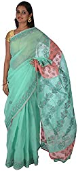 knool Women's Georgette Saree With Unstitched Blouse Piece (Sea Green and Peach) (CCSH04)