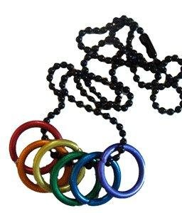 Rainbow Freedom Rings Necklace - Gay & Lesbian LGBT Pride Chain. LGBT Pride - Gay and Lesbian Pendant. One Necklace & Chain for men or women. Rainbow Pride Jewelry is Great for the Gay parade, as a Lesbian, Gay, Bisexual, or Transgender Gift to Celebrate Marriage, Love and Equality.