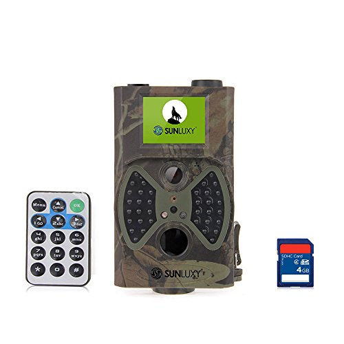 SUNLUXY® 12MP CMOS Wildkamera Jagdkamera Infrarot Überwachungskamera Jagdzeug 2 Zoll TFT Bildschirm Nachsicht Wasserdicht mit 4GB SD-Karte