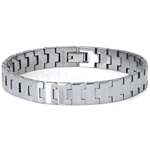 Men's Tungsten Carbide Contemporary Link Bracelet 10""