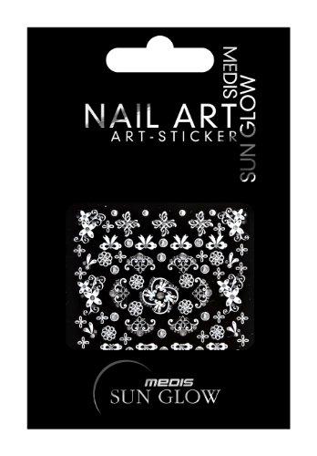 Medis Sun Glow Nagelsticker Ornamente Silber, Blumen/Schleifen-Motive, Silber mit Silber-Strass