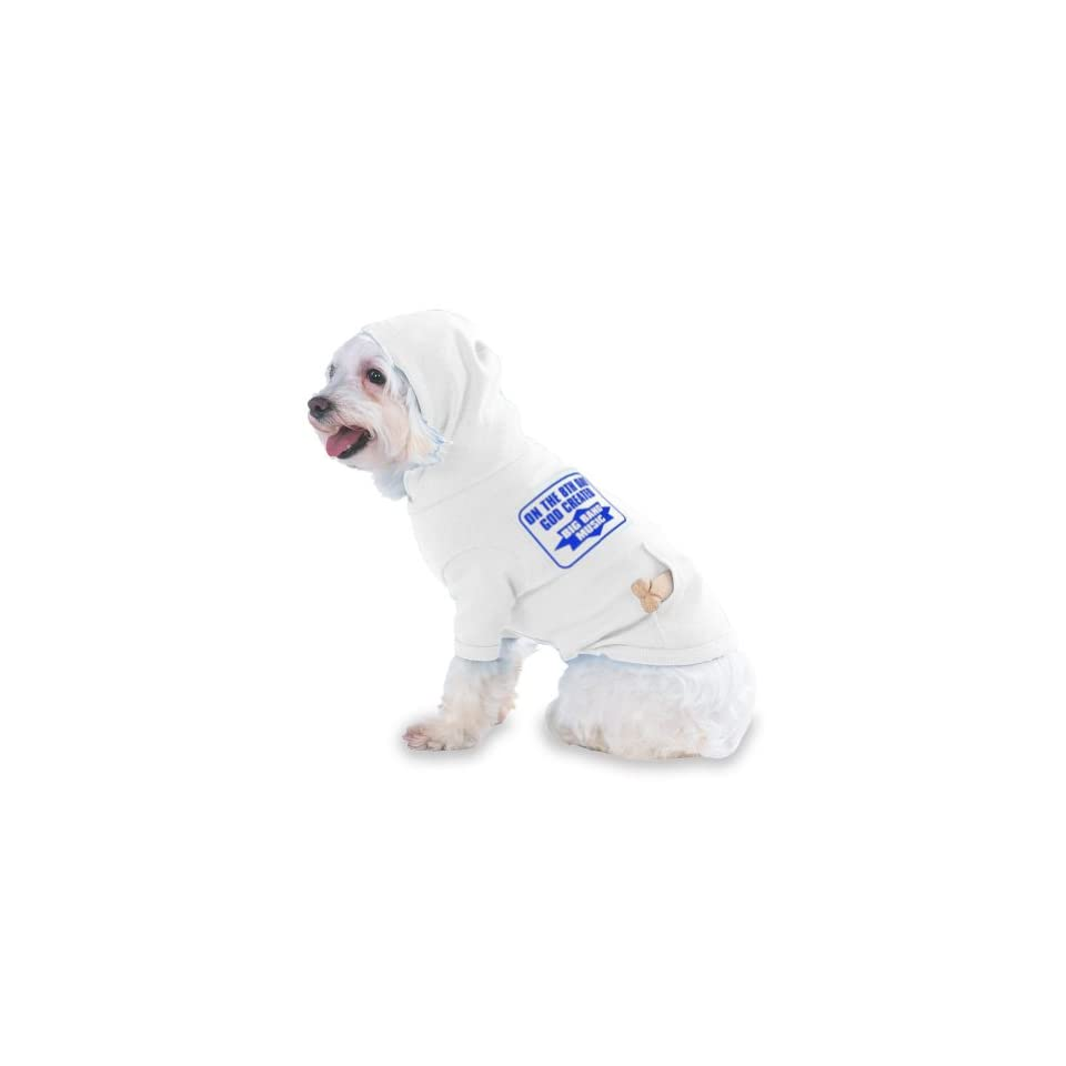 ON THE 8TH DAY GOD CREATED BIG BAND MUSIC Hooded (Hoody) T Shirt with pocket for your Dog or Cat LARGE White