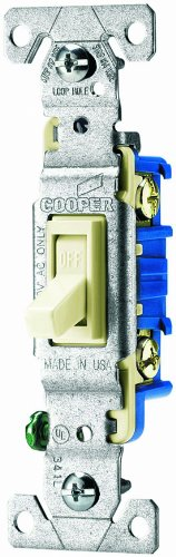 Cooper Wiring Devices 1301-7La-Spl 15-Amp, 120-Volt Standard Grade Single Pole Framed Toggle Ac Quiet Switch, Light Almond