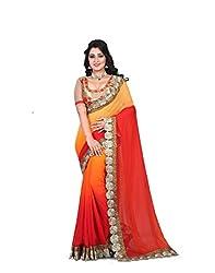 shreepati sarees Orange Georgette Embroidered Work Party Wear Saree (SS04_Orange)