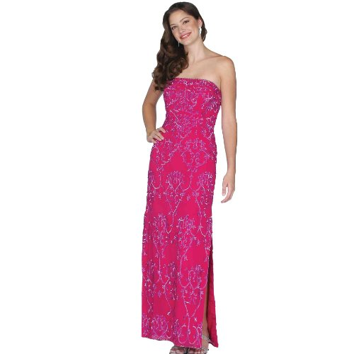 Formal Evening Gown. Fuschia Beaded Strapless Dress. Prom Dress. Silk Dress. Womens Long Evening Gown by Sean Collection (1892 S)