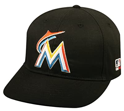 2013 Adult FLAT BRIM Miami Marlins Home Black Hat Cap MLB Adjustable
