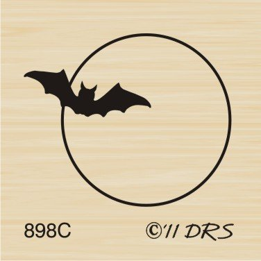 Small Bat and Moon Rubber Stamp by DRS Designs