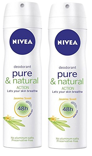 Nivea Pure And Natural Action Jasmine Scent Deodorant Spray 150 ML ( Pack Of 2 ) With Free Ayur Soap