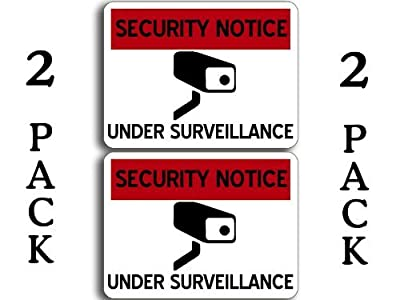 2-pack Security Notice Under Surveillance Sticker (video camera cam)
