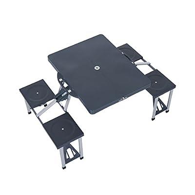 Outsunny® Alu Campingtisch Picknick Bank Sitzgruppe Gartentisch mit 4 Sitzen klappbar Schwarz von hergestellt für Outsunny - Gartenmöbel von Du und Dein Garten