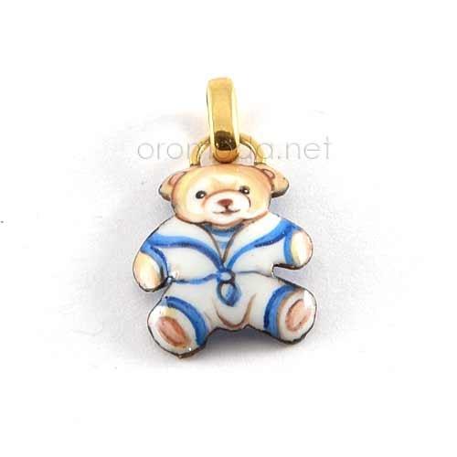 Gabriella Rivalta enamelled teddy bear pendant Gabriella Rivalta enamelled teddy bear pendant, copper base with gold 750 little ring gr. 0.40
