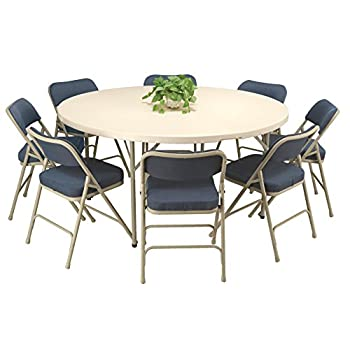 KFI Seating Round Blow Mold Folding Table, Commercial Grade, 60-Inch, Granite White/Gray
