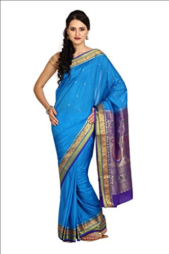 Parchayee Women Synthetic Sarees (93284 _Blue _Free Size)
