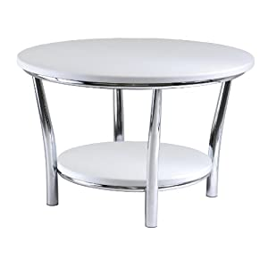 Winsome Wood Maya Round Coffee Table, White Top, Metal Legs