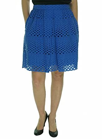 Tommy Hilfiger Women's Eyelet Embroidered A-line Skirt (12, Summit Blue)