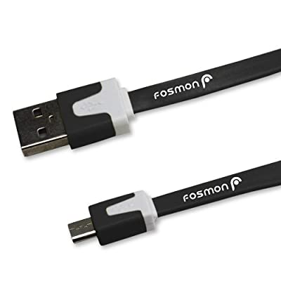 Fosmon Vivid Series Flat Tangle Free Micro USB Cable for Samsung Galaxy S4 IV, S3 III, S2 II Skyrocket, Galaxy Note 3, 2, Epic 4G Touch Vibrant Galaxy S 4G HTC EVO 4G LTE Rezound One X V S Motorola Moto X Droid RAZR M Droid Bionic Droid RAZR Atrix 4G Atri