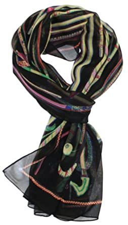 LibbySue-Floral & Graphic Print Silk Blend, Oblong Scarf in Dramatic Colors (Black Cane Print)