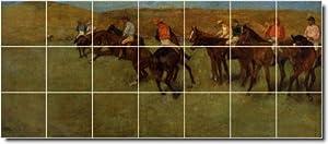 Edgar Degas Horses Ceramic Tile Mural 17. 36x84 Inches Using (21) 12x12 ceramic tiles.