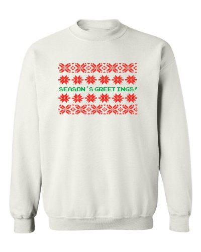 Festive Threads Season'S Greetings Christmas Sweater White Adult Sweatshirt (4-Xl)