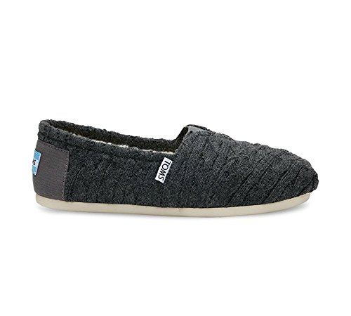 Toms Classics Forged Iron Grey Cable Knit with Shearling 10008929 Womens 6.5