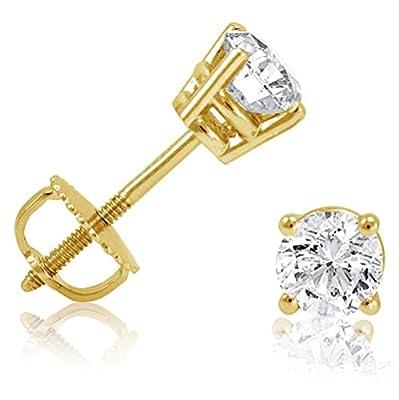 1/2ct Diamond Stud Earrings set in 14K Yellow Gold with Screw-Backs IGI Certified