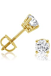 1/2ct Diamond Stud Earrings set in 14K Yellow Gold with Screw-Backs IGI Certified