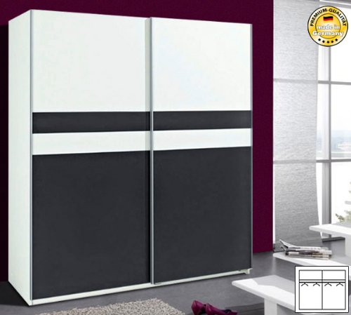 Schwebeturenschrank Kleiderschrank 612646-1 (064) weiß anthrazit 180 cm