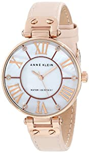 Anne Klein Women's 10/9918RGLP Leather Rosegold-Tone Pink Leather Strap Watch
