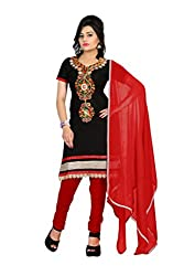 Aastha Creation Red Cotton Embroidered Dress materials