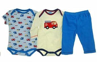 Bon Bebe Fire Truck 3 Pc Set - Bodysuits and Pants Blue Multi 0-3 Months