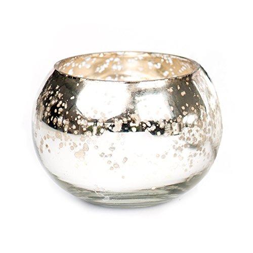 Insideretail Pumpkin Glass Votive, 6Cm By 6Cm, Antique Mercury Finish, Set Of 6