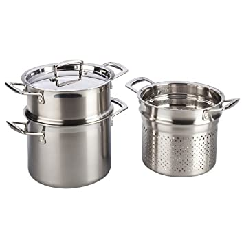 Le Creuset Tri-Ply Stainless Steel 5-1/4-Quart Multi-Pot with Lid and 2 Inserts