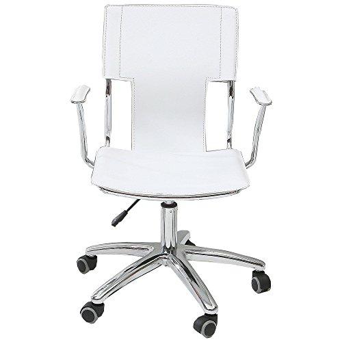 UNE BONNE(ウネボネ) オフィスチェア 椅子 ロッキング 皮製 デザイナーチェア (椅子) ガス圧昇降式ホワイト