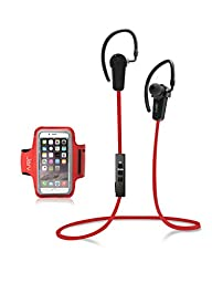 Jarv NMotion Bluetooth 4.0 Earbuds with Universal Sports Armband - Red
