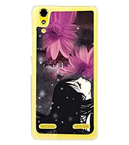 Fuson Premium Life Is Beautiful Metal Printed with Hard Plastic Back Case Cover for Lenovo A6000 Plus