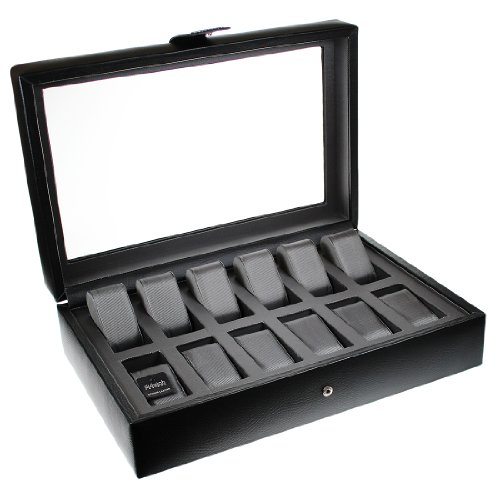 Dulwich Designs Connoisseur Collection 12 Piece Leather Watch Box with Cushioned Grey Lining High Quality Watch Display Cases Perfect for Breitling Omega Rolex Cartier Tag etc