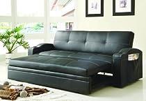 Big Sale Homelegance 4803BLK Convertible/Adjustable Sofa Bed, Black Bi-cast Vinyl