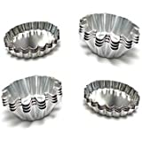 Set of 14 - Fluted Design Round and Oval Shape Tart Mold / Tartlet Pan / Mini Pie Tin
